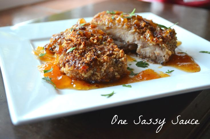 coconut pecan crusted chicken with SWEET AND SPICY APRICOT SAUCE