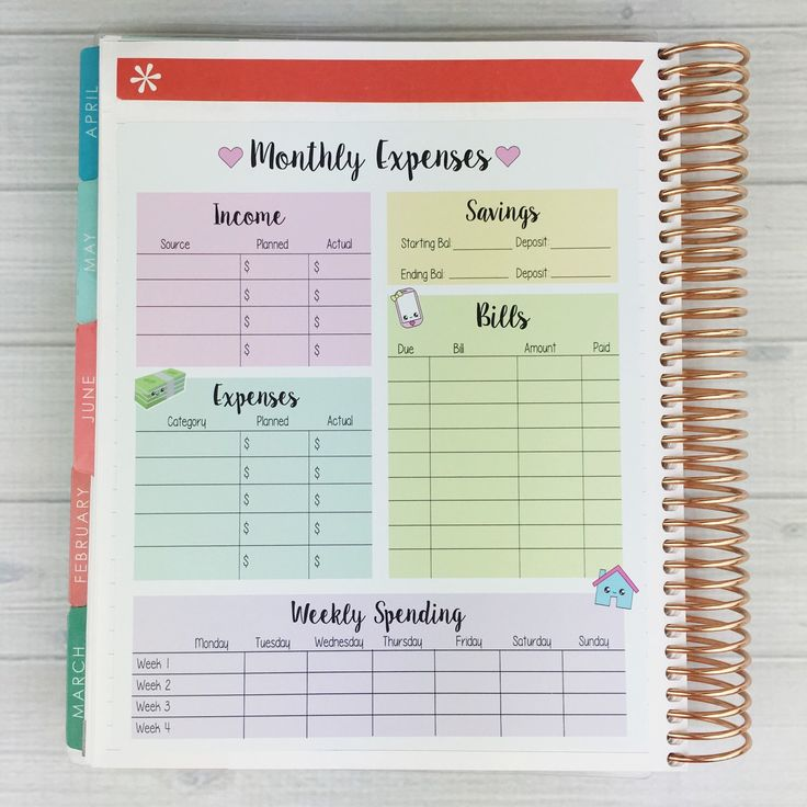 Kawaii Monthly Expense Sheet Sticker by SweetKawaiiDesign on Etsy https://www.etsy.com/listing/398453911/kawaii-monthly-expense-sheet-sticker