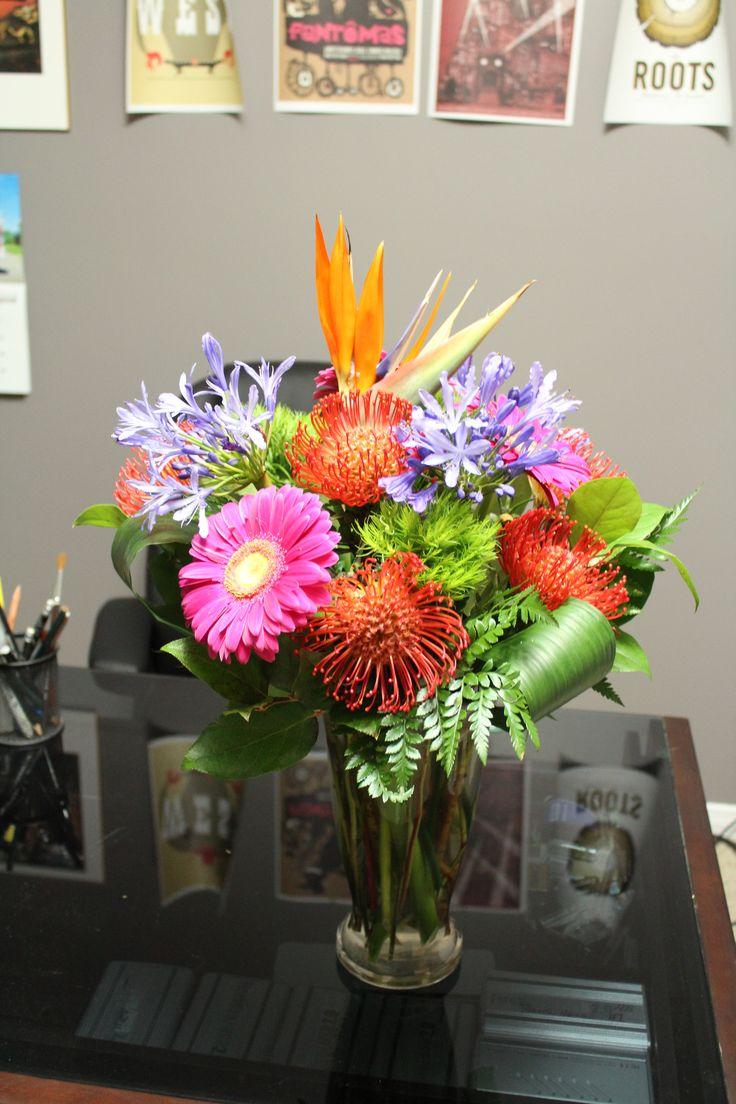 Tropical vase arrangement.