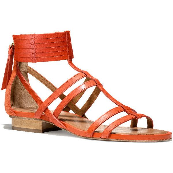 NILLIE SANDAL (355 AUD) ❤ liked on Polyvore featuring shoes, sandals, flats, flat sandals, leather sole sandals, tan leather sandals, tan sandals, tan gladiator sandals and leather sandals