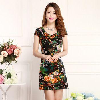 2015 musim panas Plus ukuran 4XL 5XL wanita berpakaian, Vintage yang dicetak Desigual gaun Print bunga, Panjang pantai kasual