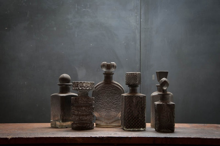 Vintage 1940s Fire Scorched Liquor Decanters. I want those!
