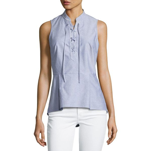 Veronica Beard Lace-Up Oxford Shirting Top ($275) ❤ liked on Polyvore featuring tops, blue, women's apparel tops, lace up front top, cotton oxford shirt, pullover top, lace front top and cotton pullovers