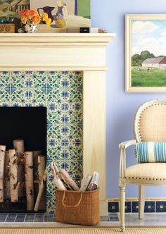 blue tiles fireplace