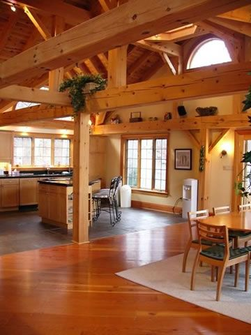 54 best post and beam homes images on pinterest log for Timber frame home interiors