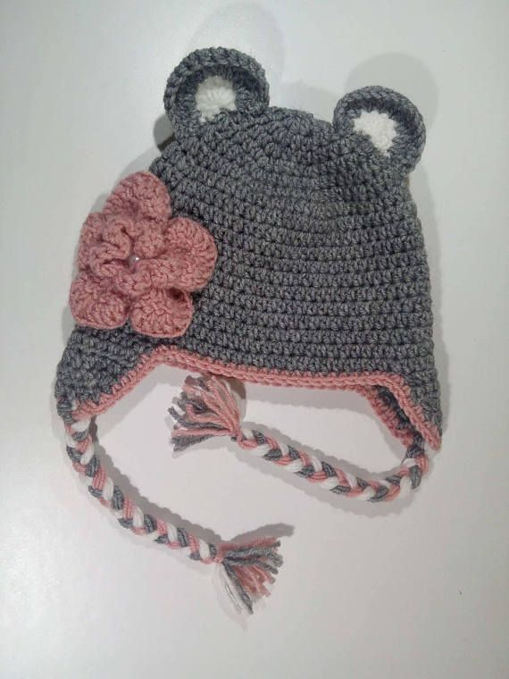 Grey Flower Hat Crochet Hat Crochet Flower Hat Toddler Hat