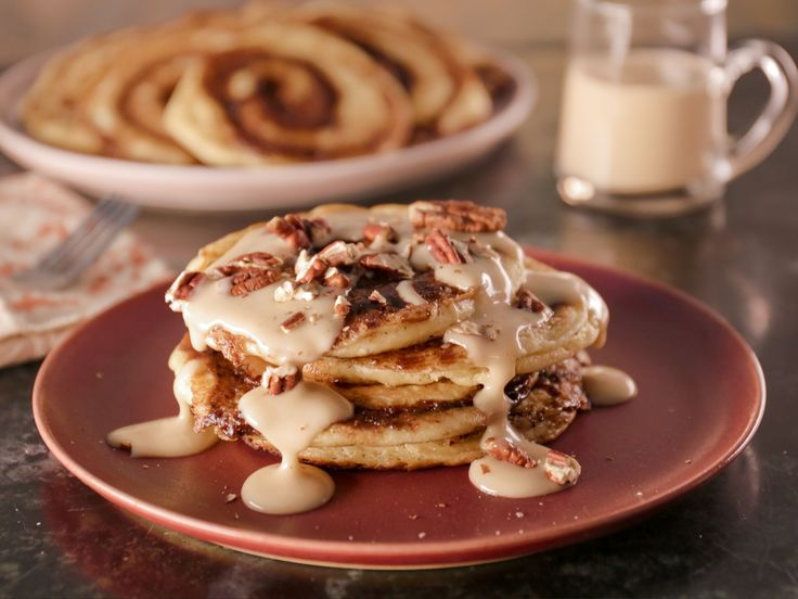 Cinnamon Bun Pancakes with Maple Cream Cheese Glaze recipe from Bobby Flay via Food Network