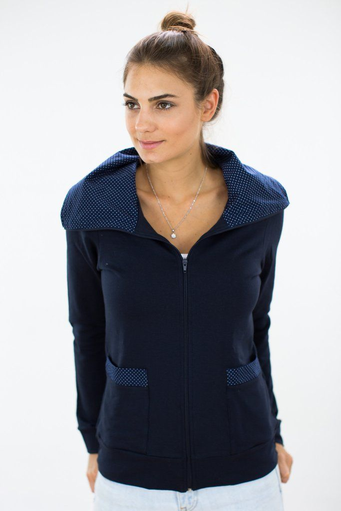 Hoodie Jacket Lucy In Navy Comfy navy jacket crafted from a super cosy sweatshirt fabric with fleece inside. The inside of the collar and the side pockets feature a playful navy and white polka dot cotton fabric. Wear with the collar down or when it gets a bit too chilly wear as a turtleneck to keep you nice and warm. http://shoko-shop.com/collections/new-in/products/hoodie-jacket-lucy-in-navy