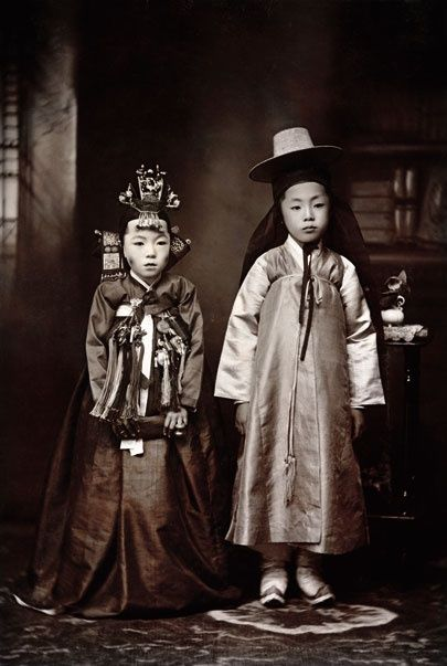 Korean children dressed for their wedding, 1916. From the National Geographic Archives, photo by Mary G Lucas.