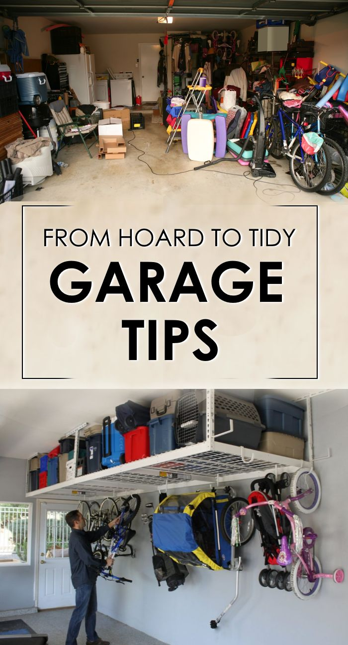 When you feel like there is not enough space in your small house garage - try these cleaning and organization ideas!  Genius space-saving hacks to tidy up your garage.