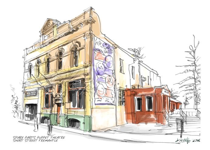 Dave Hendroff Ink and Coffee Sketch Spare Parts Puppet Theatre 1 Short St, Fremantle WA 6160