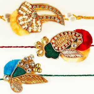 Zardozi Rakhi - Set of 3: This splendid set of 3 rakhis are artistically designed with zardozi work, diamonds, color beads, and sequins. Costs Rs 643/- http://www.tajonline.com/rakhi-gifts/product/rdr60/zardozi-rakhi-set-of-3/?aff=pinterest2013/