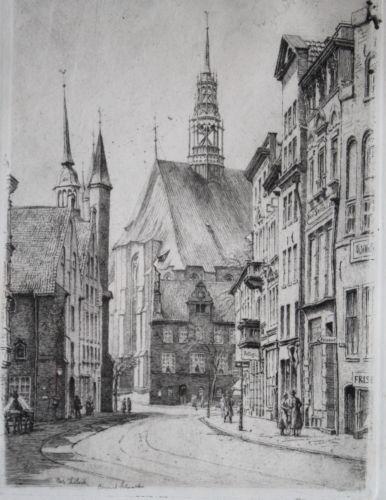 Vedute Stadtansicht Lübeck  Große Burgstrasse mit Blick Richtung St. Jacobi