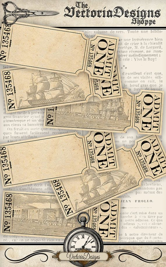 Blank Tickets printable/add your own text by VectoriaDesigns