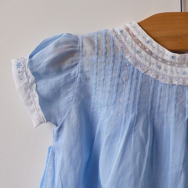 Incredible detail work from Belle Heir, on a vintage baby dress.....look at the neck binding.......beautiful.