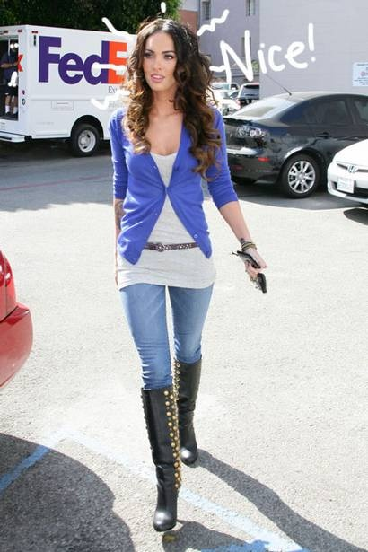 Megan fox  Blue cardigan and knee high boots w/ jeans