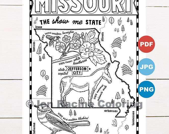 Missouri Coloring Page From The United States Of America Coloring Book Find On Book On Amazon And This Colori In 2020 Coloring Books Coloring Pages Printable Coloring