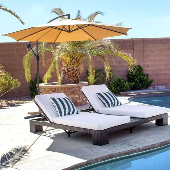 Relax and kick back in style with this 10' tan offset umbrella! #patioumbrellas