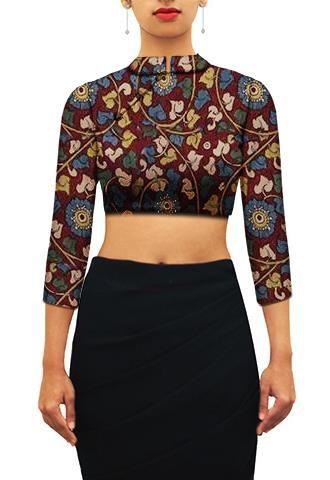 Kalamkari chinese collar blouse. Customize further or Design your own now on houseofblouse.com #saree #blouse #sareeblouse #blousedesigns #desi #indianfashion #india #chinese #kalamkari