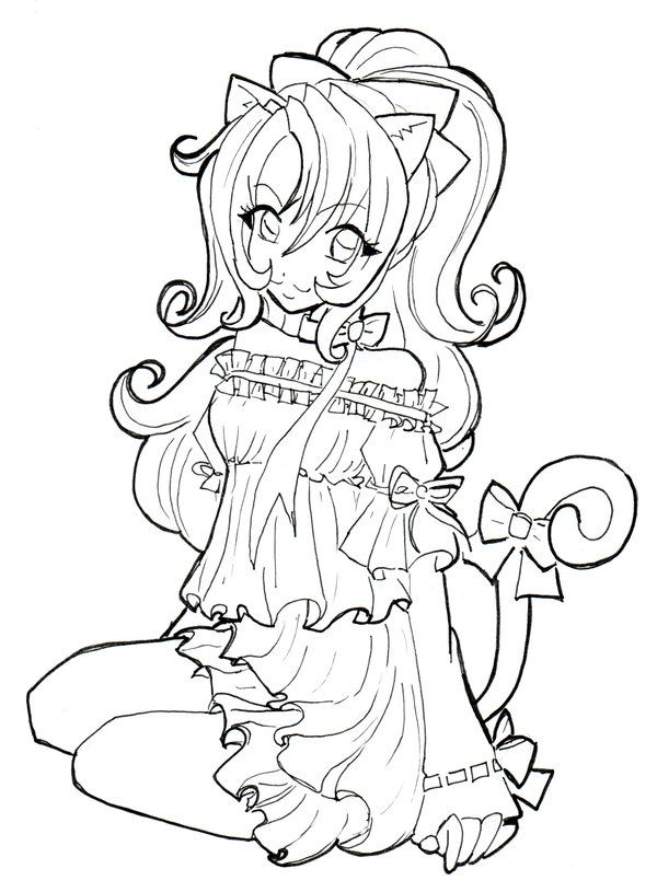 cat girl coloring page from anime girls category select from 27007 printable crafts of cartoons nature animals bible and many more - Coloring Pages Anime Princesses