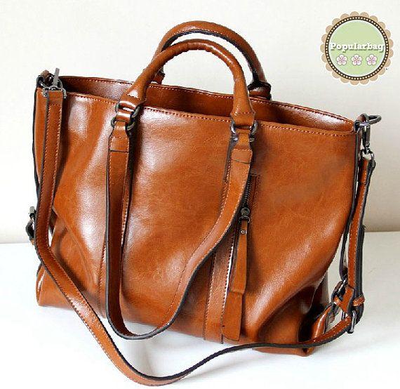 Large Genuine Leather Tote  - Ipad Bag - Handbag - Succeeding bag-Briefcase Bag /Leather Messenger in brown blue purple black red BB82 on Etsy, $89.99