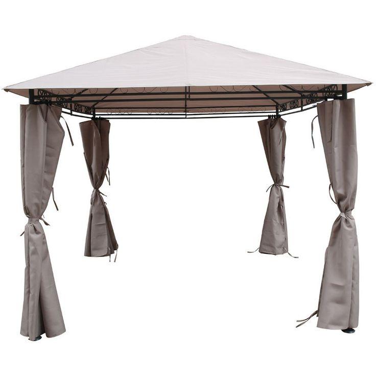 Cenador-Pergola Shana color topo en poliester 3 x 3 x 2.6 m - 1290_76457 - Jardines y piscinas