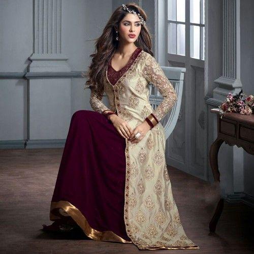 Beige and Wine Designer Velvet Suit