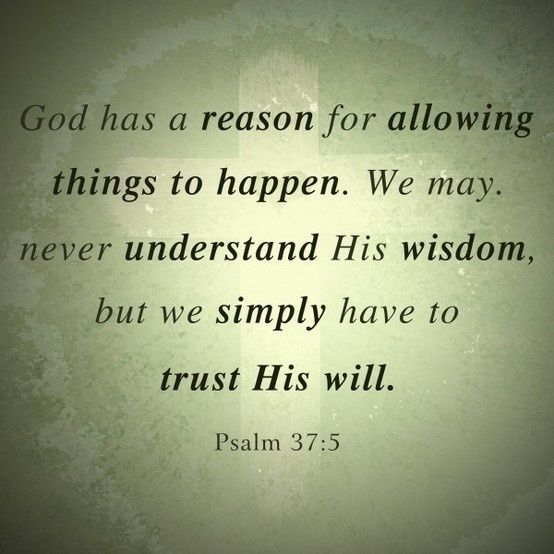 God has a reason for allowing things to happen. We may, never understand His wisdom, but we simply have to trust His will. Psalm 37:5...