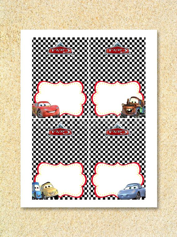 CARS Party Food Labels Instant DownloadCars by MadPhotoge on Etsy, $3.25