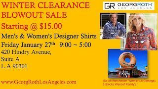 Hot Deal of the Week YAY! The Georg Roth Sample Sale is back on 1/27, (Fr. 9am-4pm). Save 70%-80% on men's and women's high end designer shirts. Normally found and Barneys, Neiman Marcus and Nordstrom's at $149-$245, now you can buy them at just $15-$55 at this one day monthly sale.