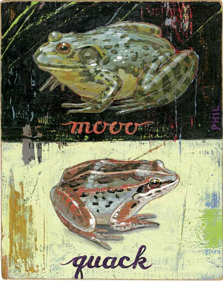 'Country Garden Frogs'. Illustrated by Phil. Represented by i2i Art Inc. #i2iart