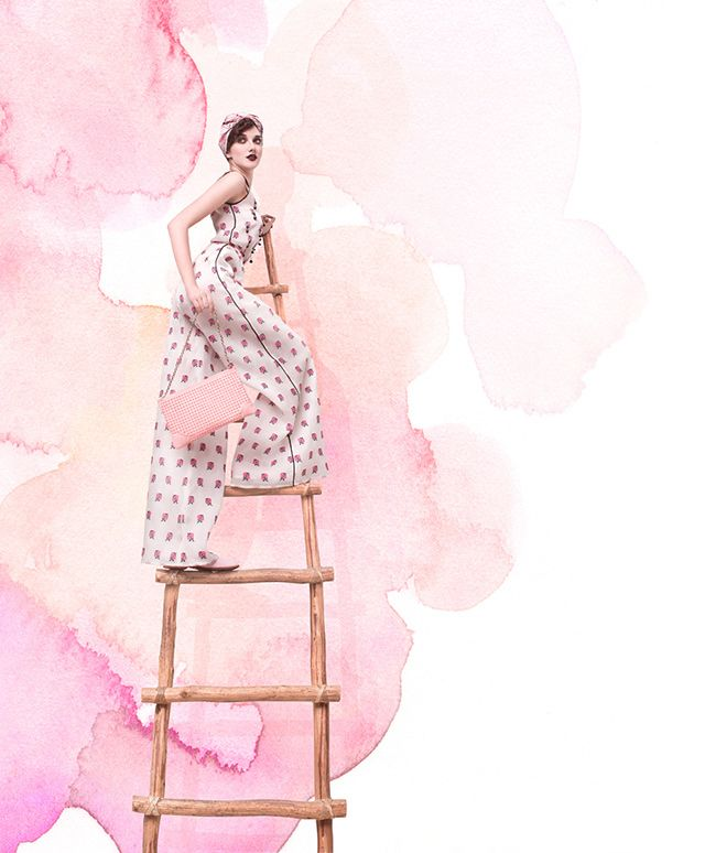 fashion editorial // love the watercolor backdrop