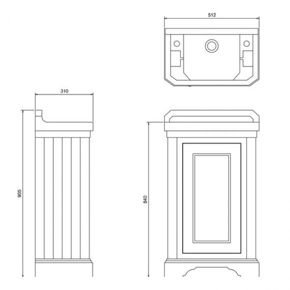 Burlington Dark Olive Freestanding Cloakroom Vanity Unit & Basin Specification