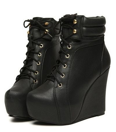Black Wedge Heels Boots