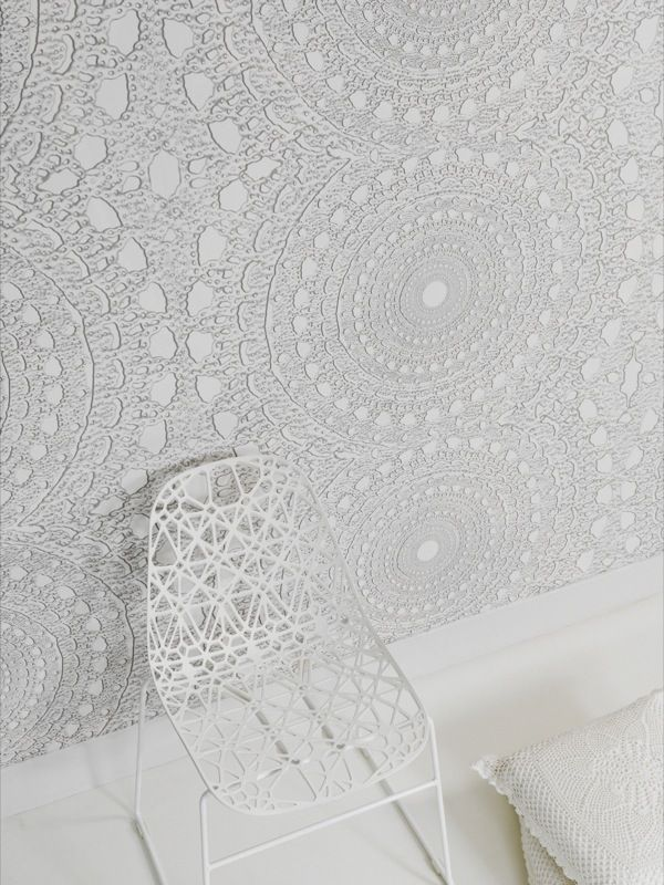 white lace wallpaper - could be applied to other surfaces too probably. Acrylic, resin, ceiling, separators, etc.