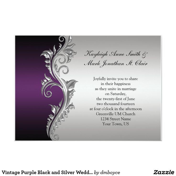 tulip wedding invitation templates%0A Vintage Purple Black and Silver Wedding Invitation