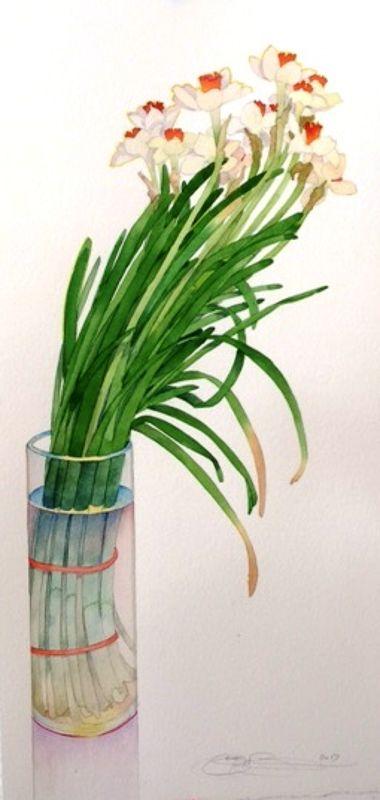 Gary Bukovnik - Galerie Thomas Reynolds - San Francisco - Narcisse en penchant - 70 cm x 34 cm
