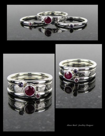 Ruby, amethyst & pink tourmaline sterling silver 'birthstone' stacking ring
