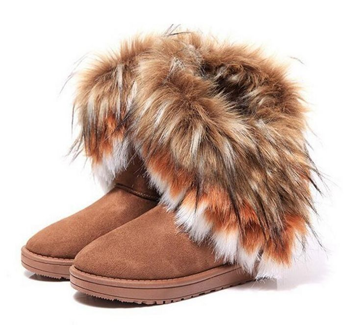 HEVXM Fashion Fox Fur Warm Autumn Winter Wedges Snow Women Boots Shoes GenuineI Mitation Lady Short Boots Casual Long Snow Shoes //Price: $US $18.49 & FREE Shipping //     #bags