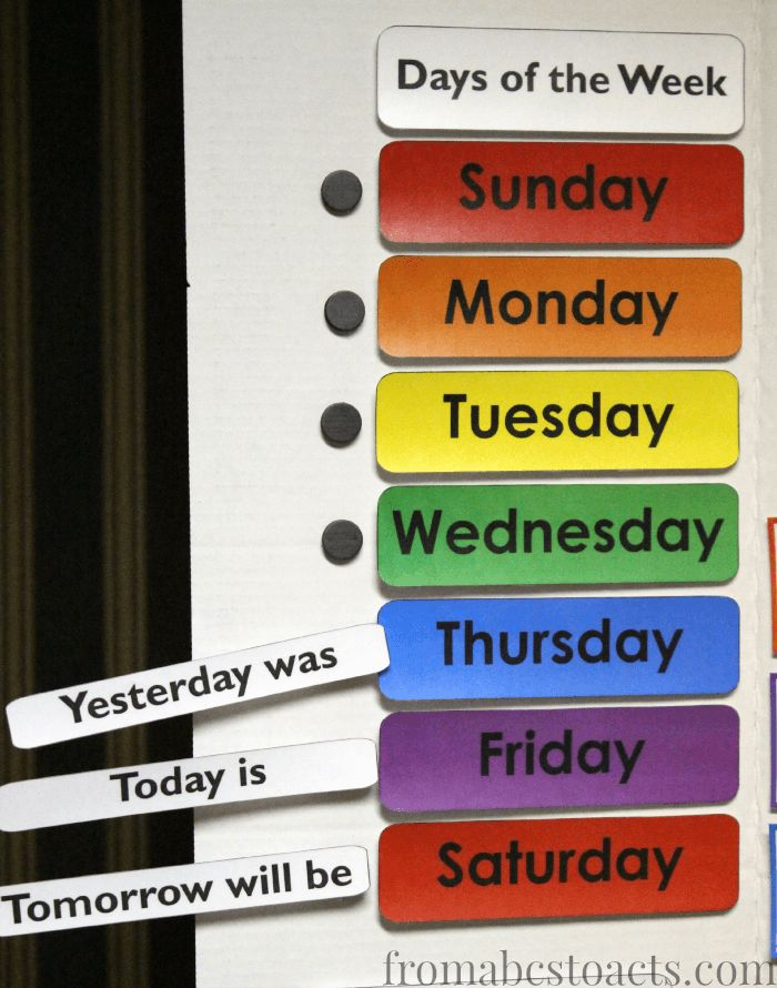 Teaching the days of the week with a DIY home preschool calendar board.