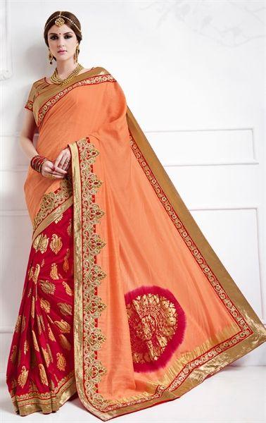Picture of Mystical Pink and Peach Premium Designer Saree
