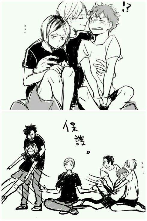 Protective Parentals - Kuroo + Kenma and DaiSuga + Hinata >> If it were not Daisuga but Kageyama It wouldn't be parental though xD