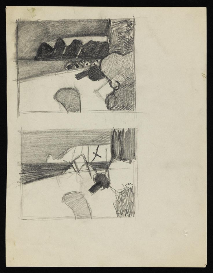 Keith Vaughan 'Two drawings of beaches', [1956] © The estate of Keith Vaughan