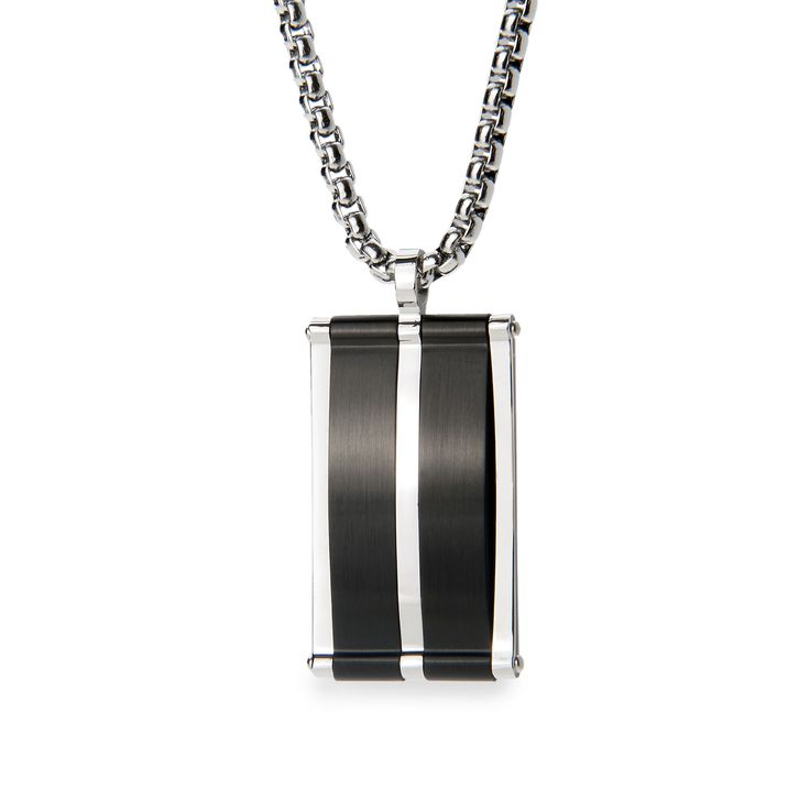 Fine Jewelry Mens Diamond Accent Stainless Steel Black IP with Yellow IP Edge Dog Tag Pendant Necklace q1SaZQemuU