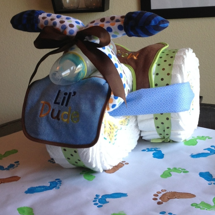 Hand crafted gift wrap and diaper trike for baby shower!