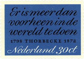 30ct post stamp. The Netherlands. 1972. 100th Anniversary of the Death of Johan Rudolf Thorbecke. Design by Gerrit Noordzij