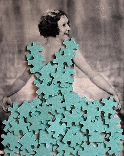 In this image, we are depicted the dress by the use of puzzle pieces that have been de-constructed in order to reconstruct a new dress.