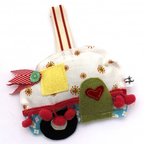 "More stock coming soon. Happy Camper Ornament is 4""H x 5""W. Happy Camper Ornament can be easily hand sewn which makes it a great kit to take on the go. Jennifer Jangles Sewing and Craft Kits are made"