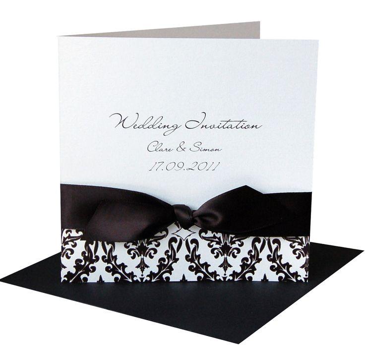 Damask Black Wedding Invitation, £2.95 www.madewithlovedesigns.co.uk monochrome wedding theme