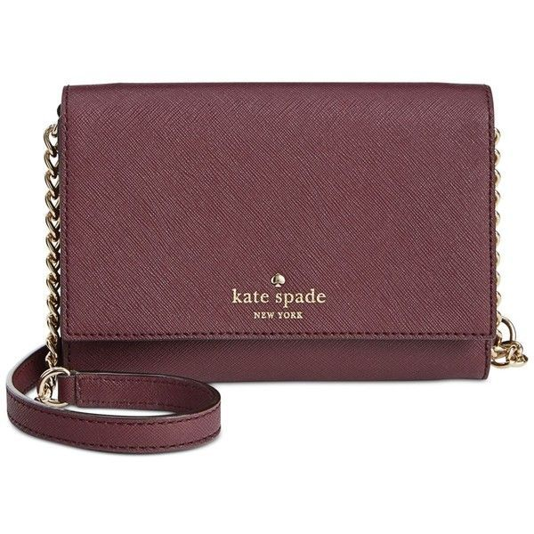 kate spade new york Cedar Street Cami Crossbody ($148) ❤ liked on Polyvore featuring bags, handbags, shoulder bags, mulled wine, brown crossbody purse, cross body purse, kate spade purses, cross shoulder bag and cross body handbags